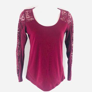 Ambiance Burgundy Lace Long Sleeve Top XS